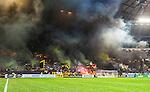 Solna 2014-08-13 Fotboll Allsvenskan AIK - Djurg&aring;rdens IF :  <br /> AIK:s supportrar med flaggor och r&ouml;k innan matchen<br /> (Foto: Kenta J&ouml;nsson) Nyckelord:  AIK Gnaget Friends Arena Allsvenskan Derby Djurg&aring;rden DIF supporter fans publik supporters
