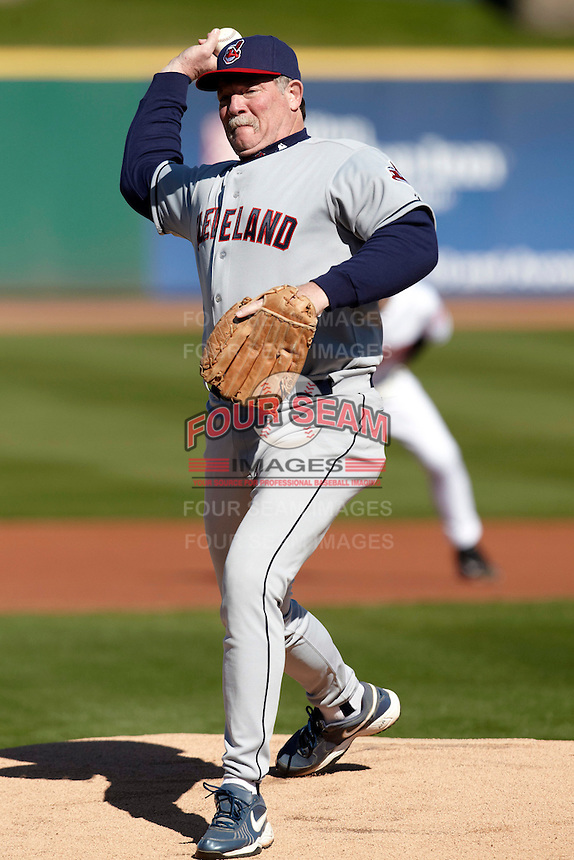 Former major league pitcher Len Barker pitches during a campers vs pros game at the Cleveland Indians Fantasy Camp at Goodyear Stadium on January 19, 2012 in Goodyear, Arizona.  (Mike Janes/Four Seam Images)