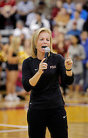 TALLAHASSEE, FLA. 10/15/10-FSUMBB 101510 CH-Florida State Women's Basketball Coach Sue Semrau fires up the crowd during the Jam with Ham basketball season kickoff Friday at Tully Gym in Tallahassee...COLIN HACKLEY PHOTO