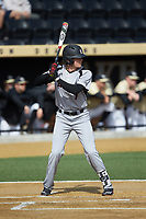 Devin Mann (7) of the Louisville Cardinals at bat against the Wake Forest Demon Deacons at David F. Couch Ballpark on March 18, 2018 in  Winston-Salem, North Carolina.  The Demon Deacons defeated the Cardinals 6-3.  (Brian Westerholt/Four Seam Images)