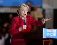 COCONUT CREEK, FL - OCTOBER 25: Democratic Presidential Candidate Hillary Clinton campaigns during early voting at the Broward College North Campus Omni Auditorium on October 25, 2016 in Coconut Creek, Florida. Credit: mpi04/MediaPunch