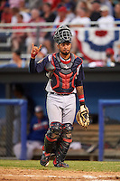 Brooklyn Cyclones catcher Ali Sanchez (4) signals two outs during a game against the Batavia Muckdogs on July 4, 2016 at Dwyer Stadium in Batavia, New York.  Brooklyn defeated Batavia 5-1.  (Mike Janes/Four Seam Images)