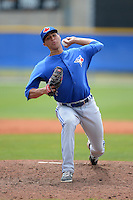 Toronto Blue Jays pitcher Alonzo Gonzalez (65) during a minor league spring training game against the New York Yankees on March 16, 2014 at Englebert Minor League Complex in Dunedin, Florida.  (Mike Janes/Four Seam Images)