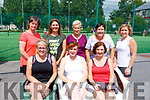 Enjoying the John Ross Jewellers sponsored Ladies Doubles Day competition at the Tralee Tennis Club on Saturday.<br /> Seated l-r, Sorcha Finnegan, Denise Brassil and Rosemary Cronin.<br /> Back l-r, Ann O&rsquo;Callaghan, Marie Gannon, Margaret Shea, Ann Courtney and Sarah Fitzgibbon.
