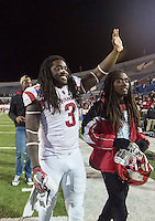 NWA Democrat-Gazette/JASON IVESTER <br /> Arkansas vs Kansas St, Liberty Bowl<br /> Arkansas running back Alex Collins (3) waves to fans following the game on Saturday, Jan. 2, 2016, at the Liberty Bowl in Memphis, Tenn.