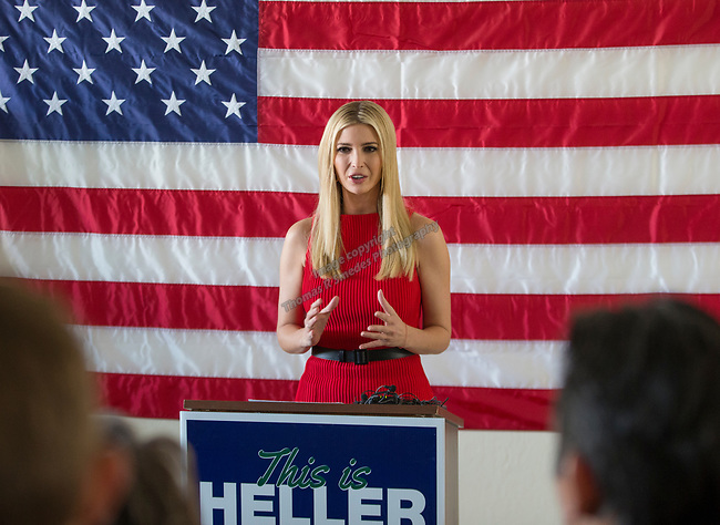 Ivanka Trump meets with Heller campaign volunteers at the RNC field office in Reno, Thursday, Nov. 1, 2018.