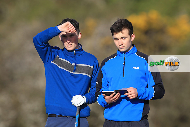 M Healy (Kinsale) and his caddy on the 4th tee during Round 1 of the Munster Stroke Play Championship at Cork Golf Club on Saturday 30th April 2016.<br />