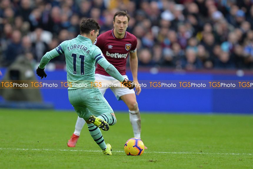 Lucas Torreira of Arsenal during West Ham United vs Arsenal, Premier League Football at The London Stadium on 12th January 2019