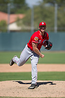 Cincinnati Reds pitcher Wyatt Strahan (31) follows through on his delivery during an Instructional League game against the Oakland Athletics on September 29, 2017 at Lew Wolff Training Complex in Mesa, Arizona. (Zachary Lucy/Four Seam Images)
