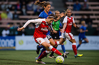 Seattle, WA - Thursday, May 26, 2016: Arsenal Ladies FC midfielder Vicky Losada (6) and Kathryn Bennett (31) of the Seattle Reign FC. The Seattle Reign FC of the National Women's Soccer League (NWSL) and the Arsenal Ladies FC of the Women's Super League (FA WSL) played to a 1-1 tie during an international friendly at Memorial Stadium.
