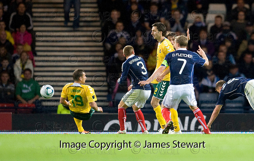 SCOTLAND'S DARREN FLETCHER CLAIMS A PENALTY AS LITHUANIA?S TADAS LABUKAS HANDLES IN THE BOX