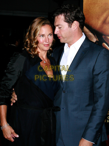 "JILL & HARRY CONNICK JR..New York Premiere of ""Nights In Rodanthe"" at the Ziegfeld Theatre, New York, NY, USA..September 23rd, 2008.half length blue suit jacket black dress profile married husband wife couple .CAP/LNC/ROB.©Rob Green/LNC/Capital Pictures."