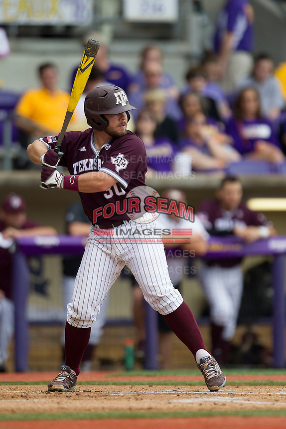 Texas A&M Aggies Designated Hitter Mitchell Nau (30) at bat during the Southeastern Conference baseball game against the LSU Tigers on April 25, 2015 at Alex Box Stadium in Baton Rouge, Louisiana. Texas A&M defeated LSU 6-2. (Andrew Woolley/Four Seam Images)