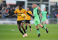 Colchester United's Tom Lapslie under pressure from Newport County's Tyreeq Bakinson<br /> <br /> Photographer Kevin Barnes/CameraSport<br /> <br /> The EFL Sky Bet League Two - Newport County v Colchester United - Saturday 17th November 2018 - Rodney Parade - Newport<br /> <br /> World Copyright © 2018 CameraSport. All rights reserved. 43 Linden Ave. Countesthorpe. Leicester. England. LE8 5PG - Tel: +44 (0) 116 277 4147 - admin@camerasport.com - www.camerasport.com