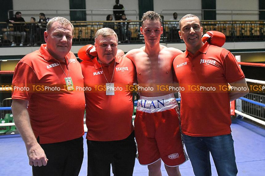 Alan Higgins (red shorts) defeats Jan Balog during a Boxing Show at York Hall, Bethnal Green
