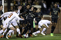 WINSTON-SALEM, NC - NOVEMBER 24: Joey DeZart #14 of Wake Forest University clears the ball out of the penalty box during a game between Maryland and Wake Forest at W. Dennie Spry Stadium on November 24, 2019 in Winston-Salem, North Carolina.