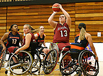MARSHALL, MN - MARCH 15:   Arinn Young #13 from Alabama shoots against Illinois at the 2018 National Intercollegiate Wheelchair Basketball Tournament at Southwest Minnesota State University in Marshall, MN. (Photo by Dave Eggen/Inertia)