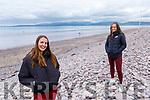 Winona Casey and Alana O'Halloran from Killorglin enjoying a stroll on Rossbeigh beach on Monday.