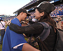 Norichika Aoki (Royals),<br /> OCTOBER 15, 2014 - MLB : Norichika Aoki (L) of the Kansas City Royals celebrates with his wife Sachi after winning the Major League Baseball American League championship series Game 4 at Kauffman Stadium in Kansas City, Missouri, USA. <br /> (Photo by AFLO)