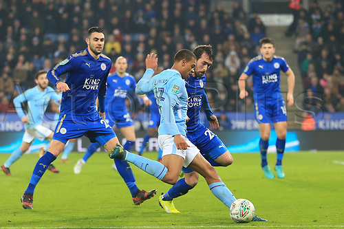 19th December 2017, King Power Stadium, Leicester, England; Carabao Cup quarter-final, Leicester City versus Manchester City; Lukas Nmecha of Manchester City crosses the ball as Christian Fuchs of Leicester City challenges