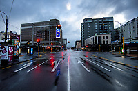 Rush hour, Taranaki St & Dixon/Courtenay Place. The city centre during quarantine lockdown for COVID19 pandemic.  Wellington, New Zealand on Friday, 27 March 2020. Photo: Dave Lintott / lintottphoto.co.nz