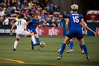 Seattle, WA - Sunday September 24, 2017: Christina Gibbons, Christine Nairn during a regular season National Women's Soccer League (NWSL) match between the Seattle Reign FC and FC Kansas City at Memorial Stadium.