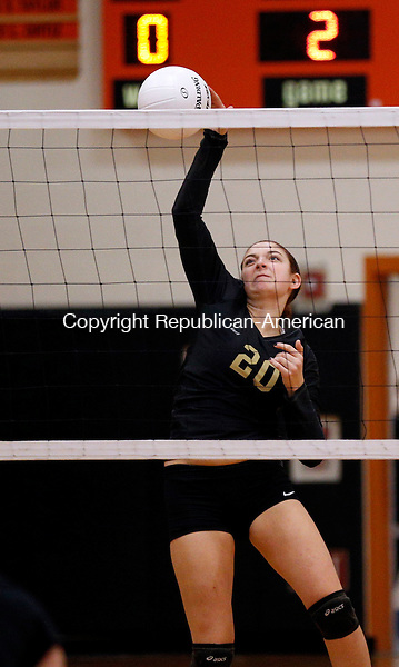 Watertown, CT- 28 October 2015-102815CM06-  Woodland's Carla Piccolo goes up for the shot during their NVL matchup against Watertown on Wednesday.     Christopher Massa Republican-American