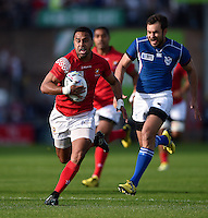 Telusa Veainu of Tonga goes on the attack. Rugby World Cup Pool C match between Tonga and Namibia on September 29, 2015 at Sandy Park in Exeter, England. Photo by: Patrick Khachfe / Onside Images