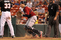Lehigh Valley IronPigs catcher Paul Hoover during a game vs. the Buffalo Bisons at Coca-Cola Field in Buffalo, New York;  August 1, 2010.  Buffalo defeated Lehigh Valley 2-1 in 10 innings.  Photo By Mike Janes/Four Seam Images