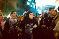 EGYPT / Cairo / 27.11.2012 / A protester during the march from the Shubra neighbourhood to Tahrir square, where thousands of people have gathered to protest President Morsi's above-the-law constitutional declaration © Giulia Marchi