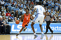 CHAPEL HILL, NC - JANUARY 11: John Newman III #15 of Clemson University drives against Brandon Robinson #4 of the University of North Carolina during a game between Clemson and North Carolina at Dean E. Smith Center on January 11, 2020 in Chapel Hill, North Carolina.