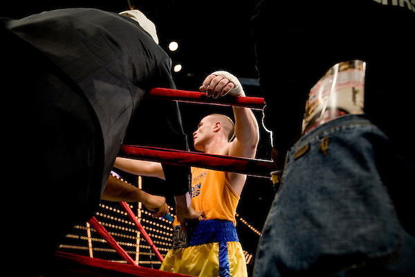 The fist of William Rosinsky, who beat Mark Anene to take the title in the 178 pound Open class.. Thursday was the first night of the finals of the  79th annual Golden Glove Boxing tournament. Boxers from all over the New York who made it through the previous rounds were on hand at Madison Square Garden to compete for the coveted Golden Gloves Champion title.