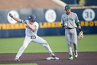 Michigan Wolverines outfielder Miles Lewis (3) celebrates hitting a double during the NCAA baseball game against the Eastern Michigan Eagles on May 16, 2017 at Ray Fisher Stadium in Ann Arbor, Michigan. Michigan defeated Eastern Michigan 12-4. (Andrew Woolley/Four Seam Images)