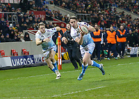 7th February 2020; AJ Bell Stadium, Salford, Lancashire, England; Premiership Cup Rugby, Sale Sharks versus Saracens;  Luke James of Sale Sharks with brother Sam James to the left running for the try line