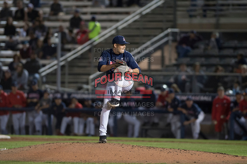 University of Arizona Wildcats starting pitcher Cody Deason (15) prepares to deliver a pitch to the plate during a game against the North Dakota State University Bison at Hi Corbett Field on March 9, 2018 in Tucson, Arizona. (Zachary Lucy/Four Seam Images)