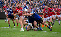 Gloucester Rugby's Callum Braley evades the tackle of Bath Rugby's Tom Dunn<br /> <br /> Photographer Bob Bradford/CameraSport<br /> <br /> Gallagher Premiership - Bath Rugby v Gloucester Rugby - Saturday September 8th 2018 - The Recreation Ground - Bath<br /> <br /> World Copyright &copy; 2018 CameraSport. All rights reserved. 43 Linden Ave. Countesthorpe. Leicester. England. LE8 5PG - Tel: +44 (0) 116 277 4147 - admin@camerasport.com - www.camerasport.com