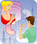 Man video voice chatting through mobile phones with a woman