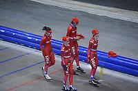 SCHAATSEN: HEERENVEEN: IJsstadion Thialf, 03-06-2013, training merkenteams op zomerijs, Mayon Kuipers, Thijsje Oenema, Margot Boer, Janine Smit, ©foto Martin de Jong