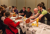 NWA Democrat-Gazette/ANTHONY REYES • @NWATONYR<br /> Diners are served crawfish Wednesday, April 15, 2015 at The Hive's crawfish boil block party, inside the 21C hotel in Bentonville. Many boils happen this time of year. The Hive's boil featured a four course meal with crawfish flown in fresh from the gulf coast. Chef Matt McClure created each dish.