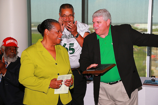 Denton, TX - APRIL 14: The All Century Football team announcement and 2013 Hall of Fame inductees at Apogee Stadium in Denton on April 14, 2013 in Denton, Texas. (Photo by Rick Yeatts)