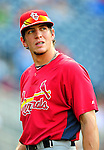 28 August 2010: St. Louis Cardinals outfielder Colby Rasmus awaits his turn in the batting cage prior to a game against the Washington Nationals at Nationals Park in Washington, DC. The Nationals defeated the Cards 14-5 to take the third game of their 4-game series. Mandatory Credit: Ed Wolfstein Photo