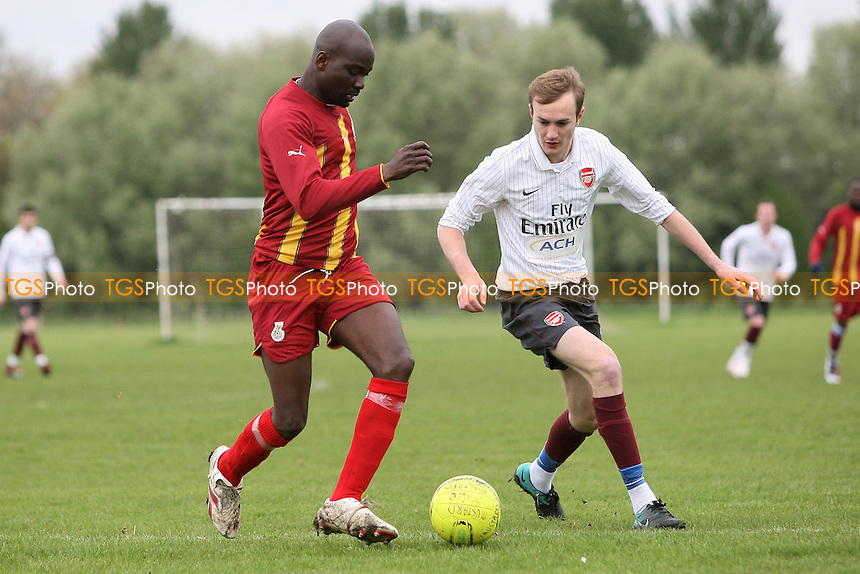 Mustard (white) vs Black Meteors - Hackney & Leyton Sunday League Dickie Davies Cup Semi-Final Football at South Marsh, Hackney Marshes, London - 06/05/12 - MANDATORY CREDIT: Gavin Ellis/TGSPHOTO - Self billing applies where appropriate - 0845 094 6026 - contact@tgsphoto.co.uk - NO UNPAID USE.
