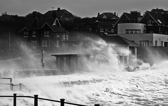 A winter storm batters the coast at Freshwater Bay, isle of wight