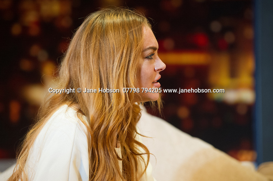 "London, UK. 30.09.2014. ""Speed-the-Plow"", by David Mamet, directed by Lindsay Posner, starring Lindsay Lohan, opens at the Playhouse Theatre. Picture shows: Lindsay Lohan. Photograph © Jane Hobson."
