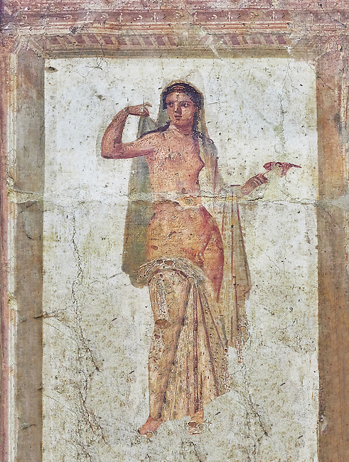 Roman erotic fresco painting of Hermaphrodite from Heraculeum, 1-50 AD , inv no 9224 , Secret Museum or Secret Cabinet, Naples National Archaeological Museum