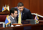 Nevada Senate Democrats Ruben Kihuen, left, and Mark Manendo work on the Senate floor at the Legislative Building in Carson City, Nev., on Wednesday, April 15, 2015.<br /> Photo by Cathleen Allison