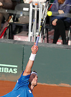 Andy Murray during   Davis Cup quarter-final tennis match against Andreas Seppi in Naples April 4, 2014.