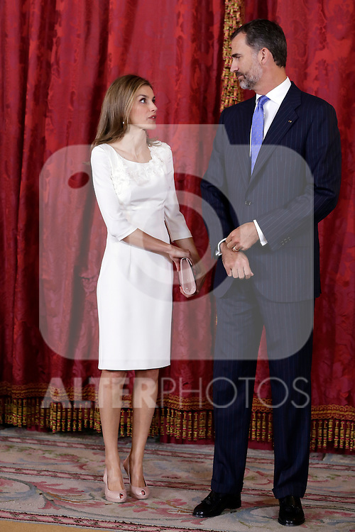 Spanish Royals recived to Panama President Juan Carlos Varela and his wife Mss Cartillo de Varela at Royall Palace in Madrid in Madrid. September 08, 2014. (ALTERPHOTOS/POOL/ANTONIO GUTIERREZ)