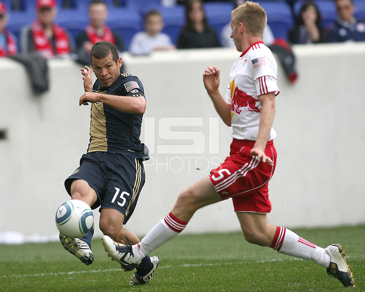 Alejandro Moreno #15 of the Philadelphia Union sends over a cross past Tim Ream #5 of the New York RedBulls to assist on the Union's goal by Sebastian Le Toux during a MLS  match on April 24 2010, at RedBull Arena, in Harrison, New Jersey. RedBulls won 2-1.