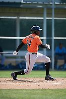 Baltimore Orioles Randolph Gassaway (64) follows through on a swing during a minor league Spring Training game against the Tampa Bay Rays on March 29, 2017 at the Buck O'Neil Baseball Complex in Sarasota, Florida.  (Mike Janes/Four Seam Images)